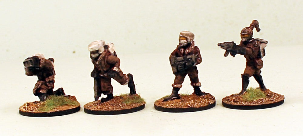 IB28 Planetary Militia Command Set 1 MDF Bases-Pro-Painted Set of 4 Space Opera Miniatures & Ready to Ship