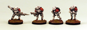 IB02 Retained Lance Command-Pro-Painted Set of 4 Space Opera Miniatures Set 1 (White Armour): Ready to Ship