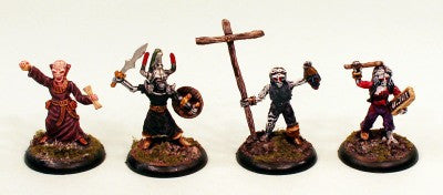 28mm Zombie Command (VNT12) Pro-Painted-4 Undead Miniatures-Ready to Ship