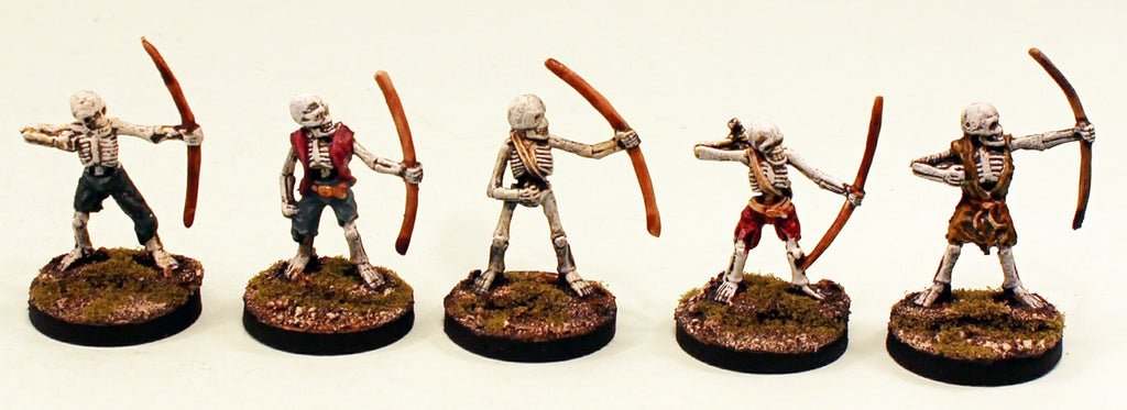 VNT14 Skeleton Archers 28mm Pro-Painted Fantasy-5 Miniatures Set-25mm Resin Bases-Ready to Ship
