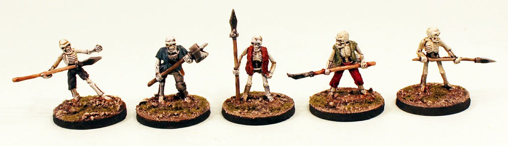 VNT15 Skeleton Polearms 28mm Pro-Painted Fantasy-5 Miniatures Set-30mm Resin Bases-Ready to Ship