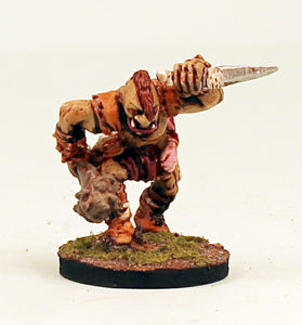 VNT3-02: Ogre with spiked club & sword-28mm Scale Pro-Painted Miniature-Ready to Ship