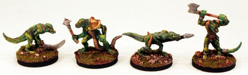 28mm Fantasy VNT7 Primitive Lizardmen Pro-Painted-4 Miniatures Set-Ready to Ship