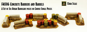 FMS06 Concrete Barriers and Barrels (Set of Six Pieces or Singles)