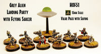 HOF51 Grey Alien Landing Party with Flying Saucer - Value Pack