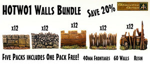 HOTW01 Walls Bundle - All Five HOT Walls Packs - One Pack is Free 2400mm frontage!