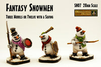 SN07 Fantasy Snowmen (28mm scale) (3 Pack or Value Set of 12 with Saving)