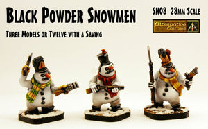 SN08 Black Powder Snowmen (28mm Scale) (3 Pack or Value Set of 12 with Saving)