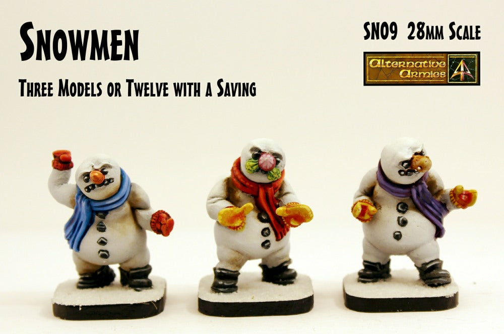 SN09 Snowmen (28mm scale) (3 Pack or Value Set of 12 with Saving)