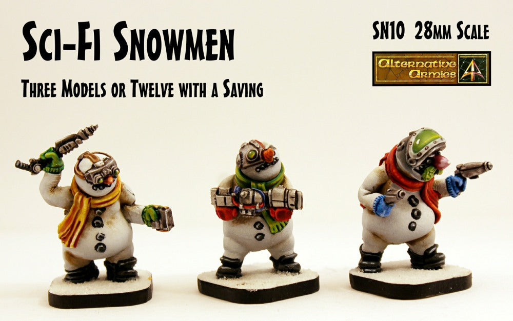 SN10 Sci-fi Snowmen (28mm scale) (3 Pack or Value Set of 12 with Saving)