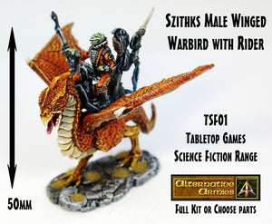 TSF01 Szithks Male Winged Warbird with Rider (Pack or Parts)