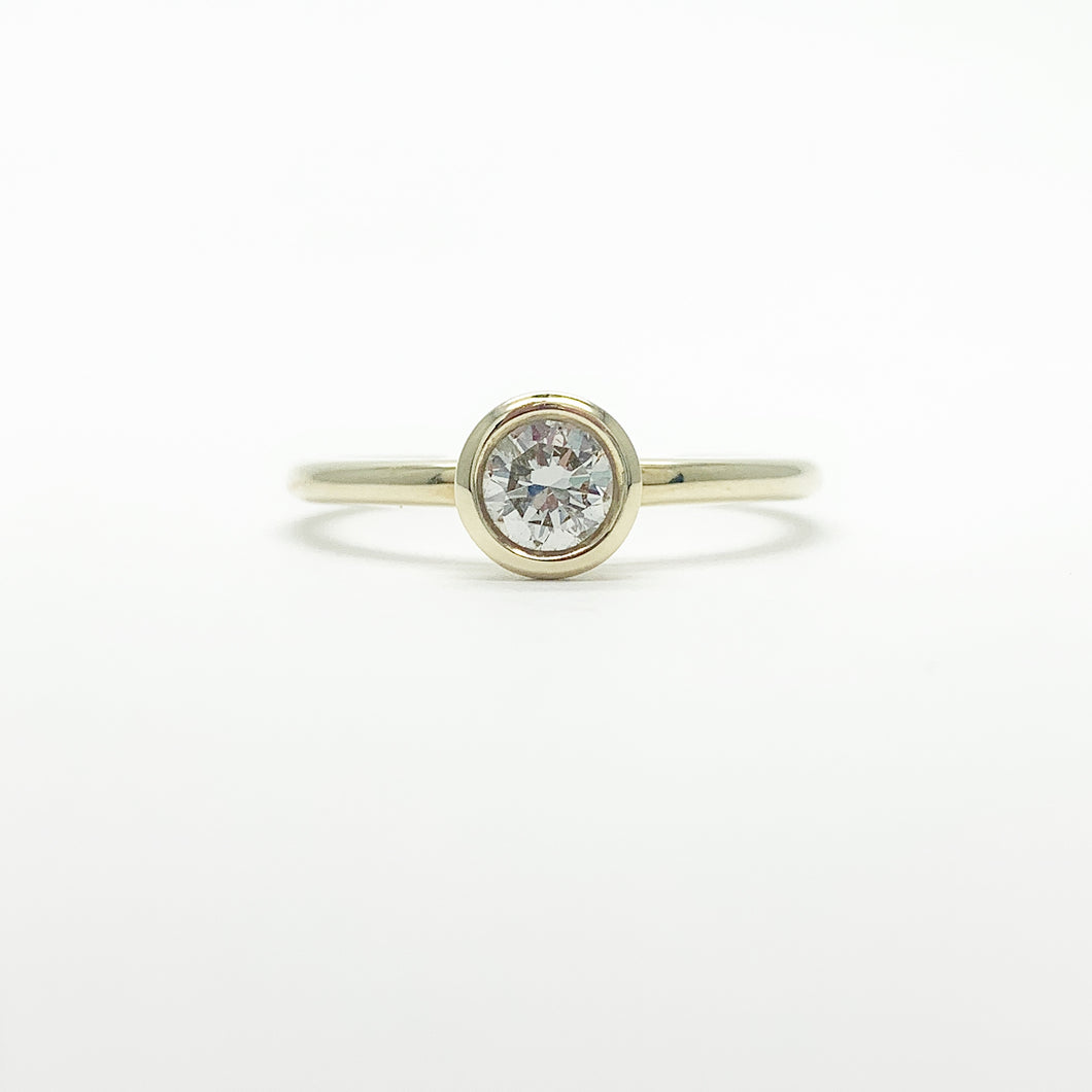 Yellow Gold Single 0.38ct Diamond Ring