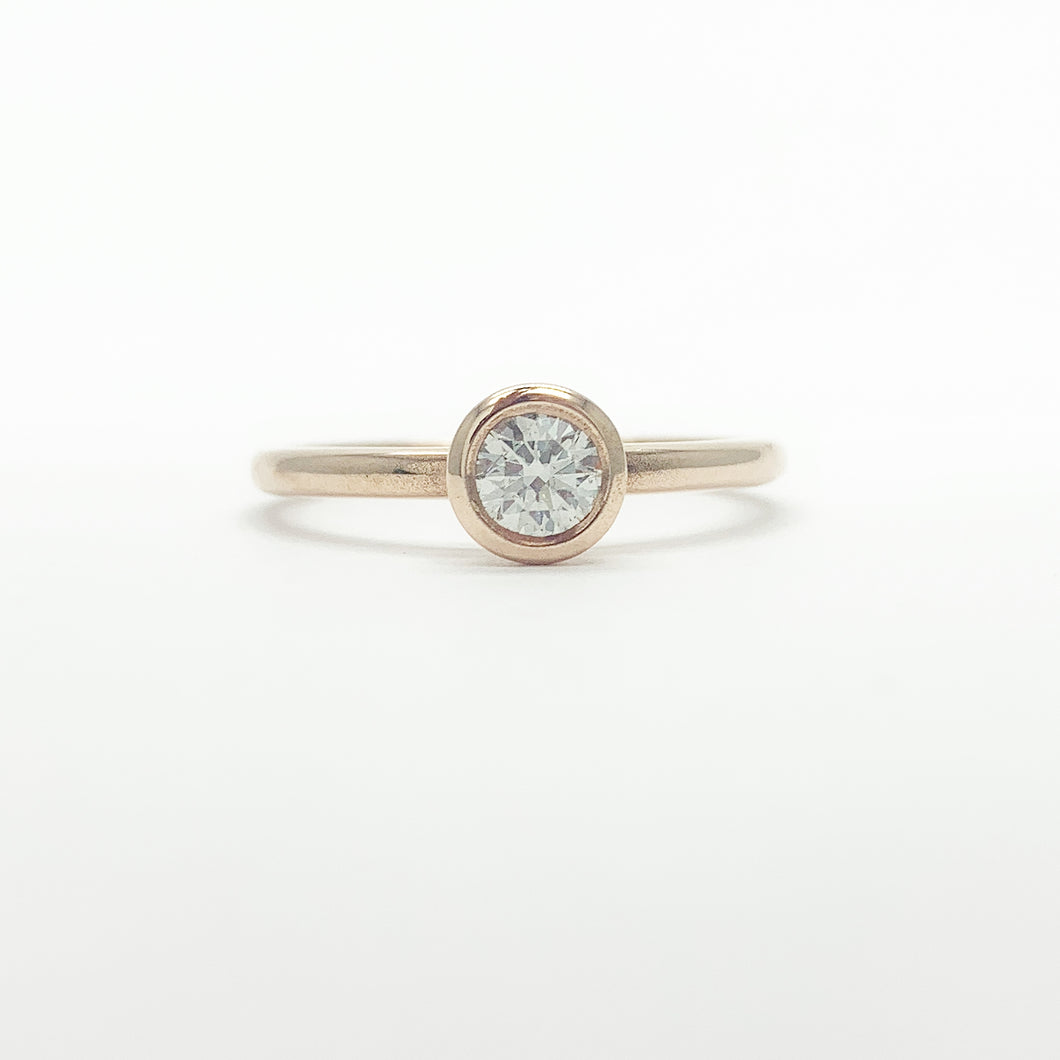 Rose Gold Single 0.34ct Diamond Ring