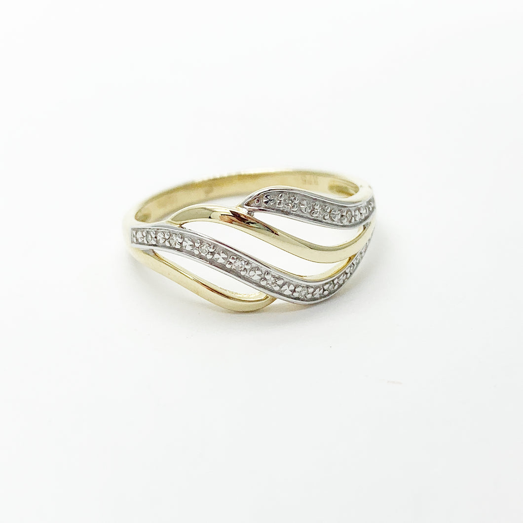 Yellow Gold Diamond Wave Ring