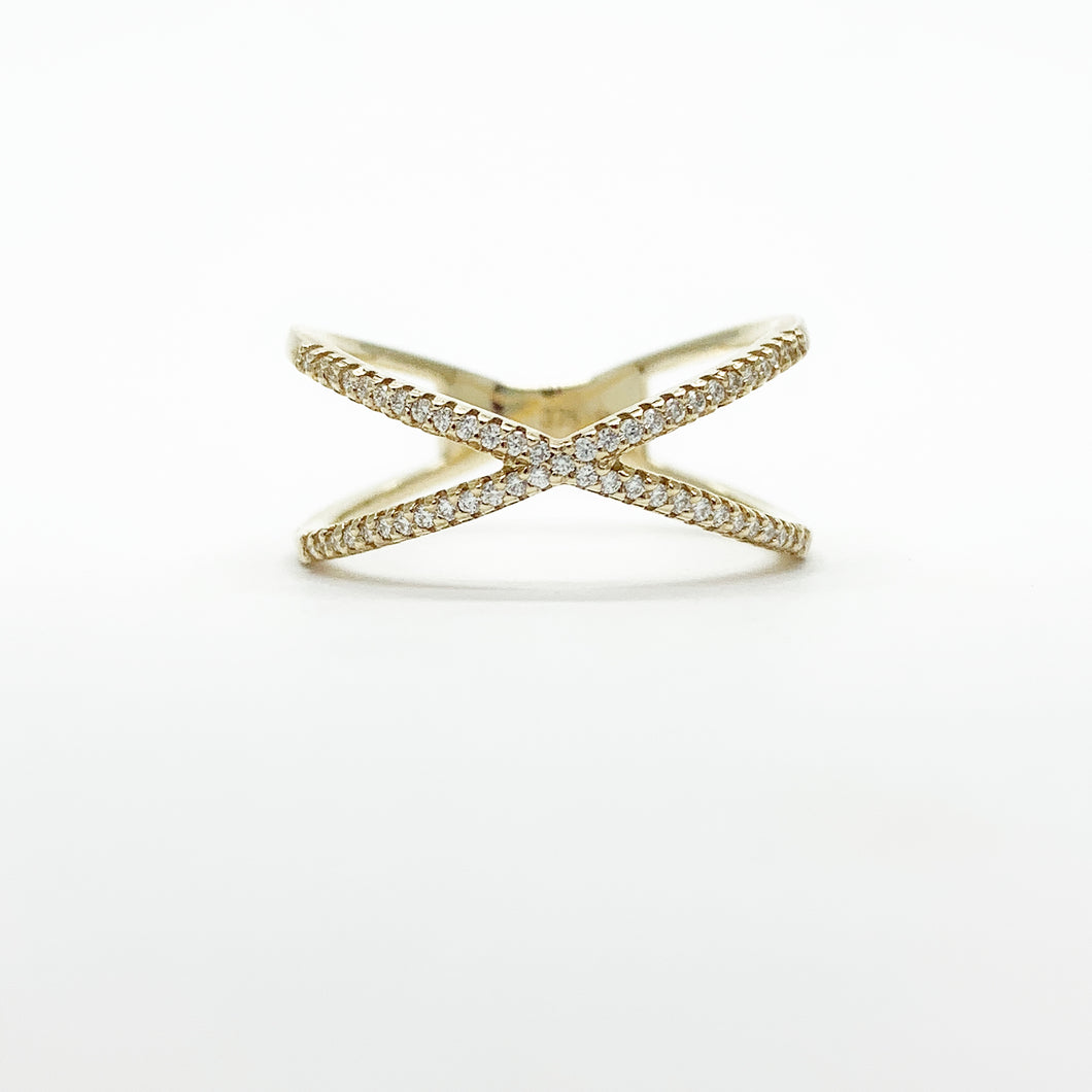 Yellow Gold Diamond Crossover Ring
