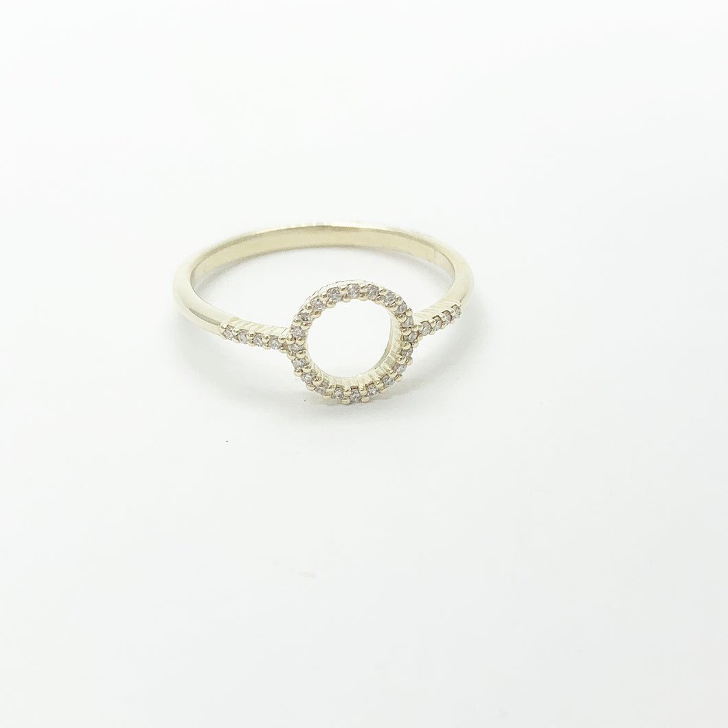 Yellow Gold Diamond Open Circle Ring