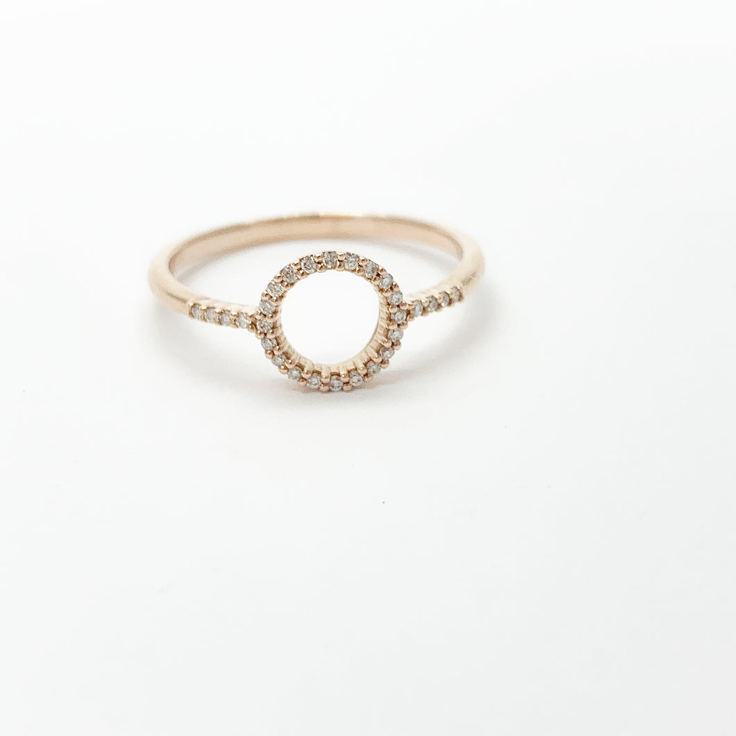 Rose Gold Diamond Open Circle Ring