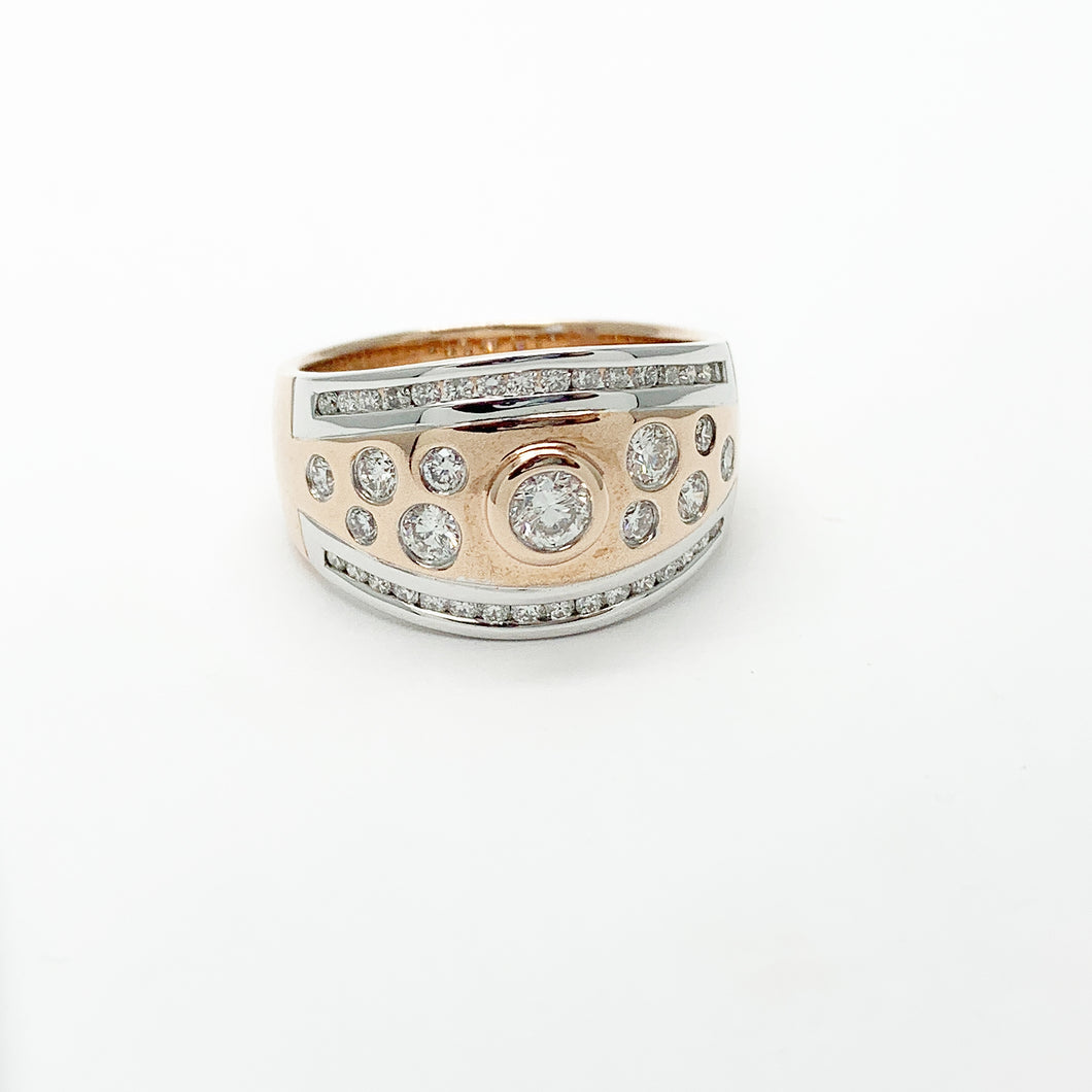 Rose/White Gold Diamond Scatter Ring