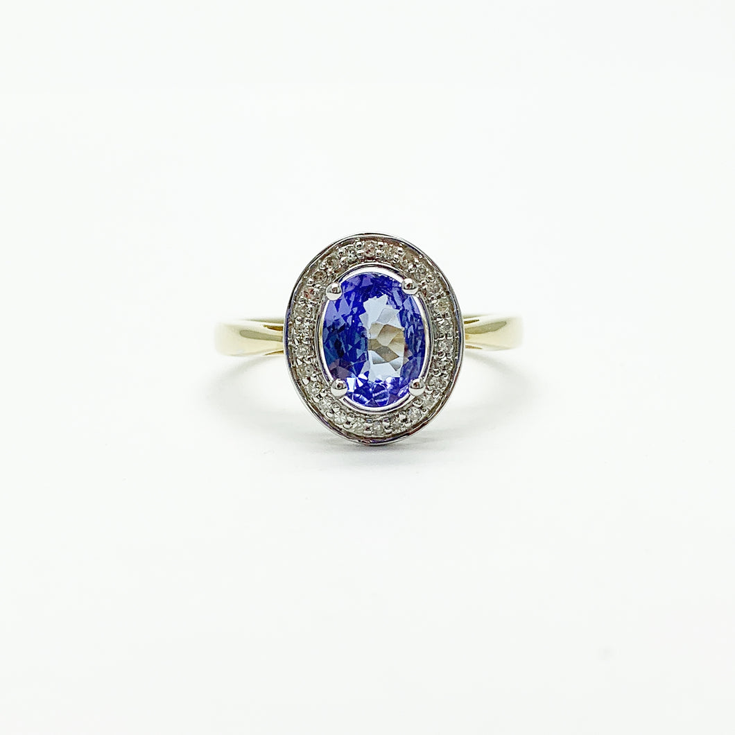Yellow/White Gold Tanzanite & Diamond Ring