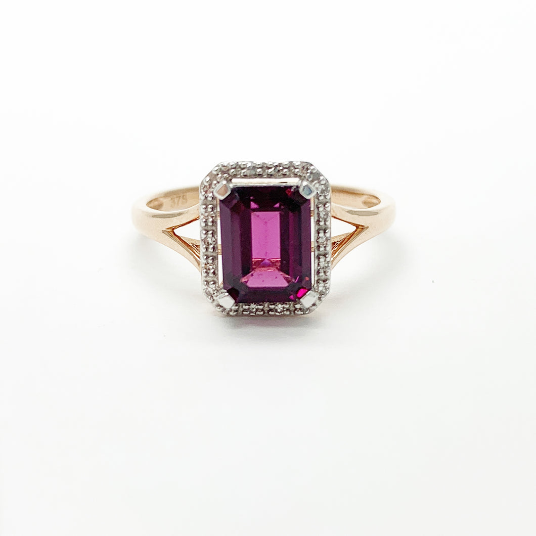 Rose Gold Rhodolite Garnet & Diamond Ring
