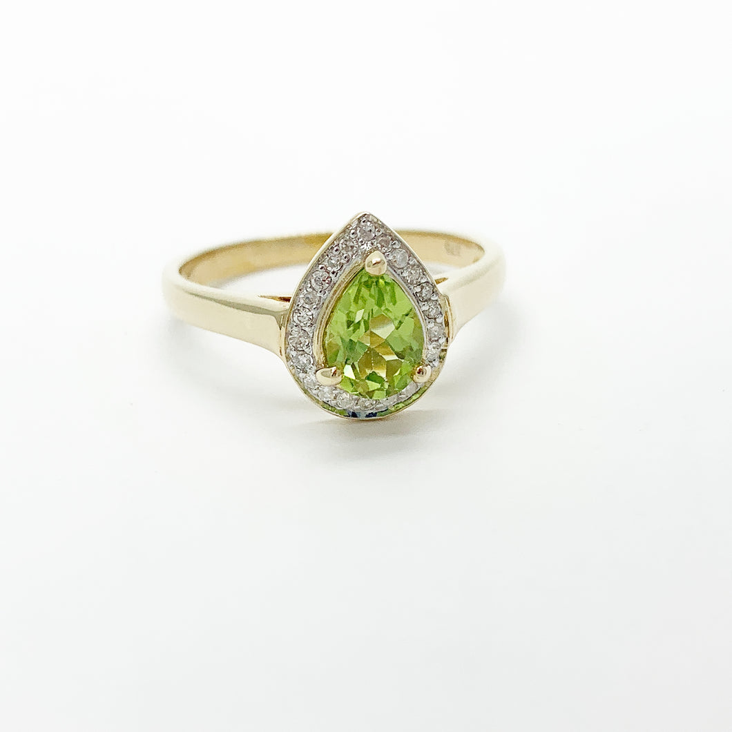 Yellow Gold Peridot & Diamond Halo Ring