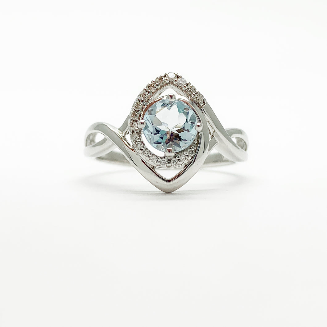 White Gold Aquamarine & Diamond Ring
