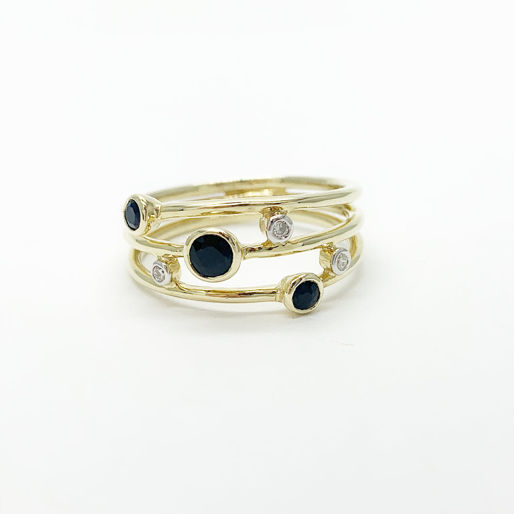 Yellow Gold Sapphire & Diamond Scatter Ring