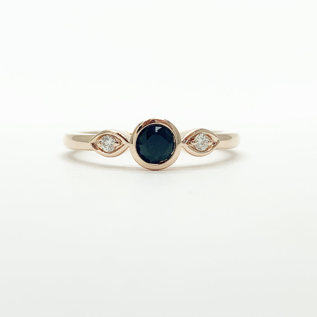 Rose Gold Sapphire & Diamond Ring