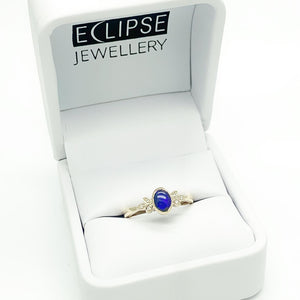 Yellow Gold Solid Opal Ring