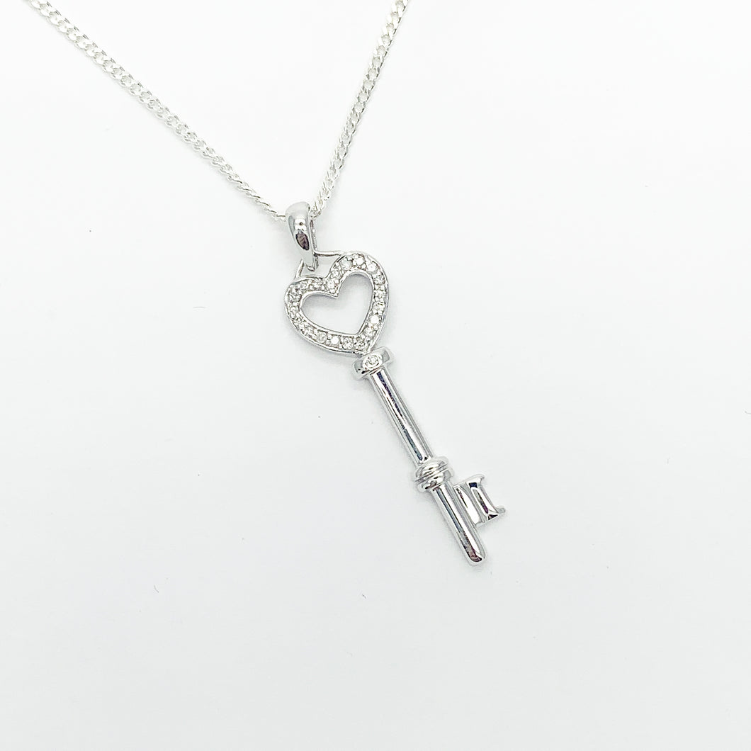 White Gold Diamond Key Pendant