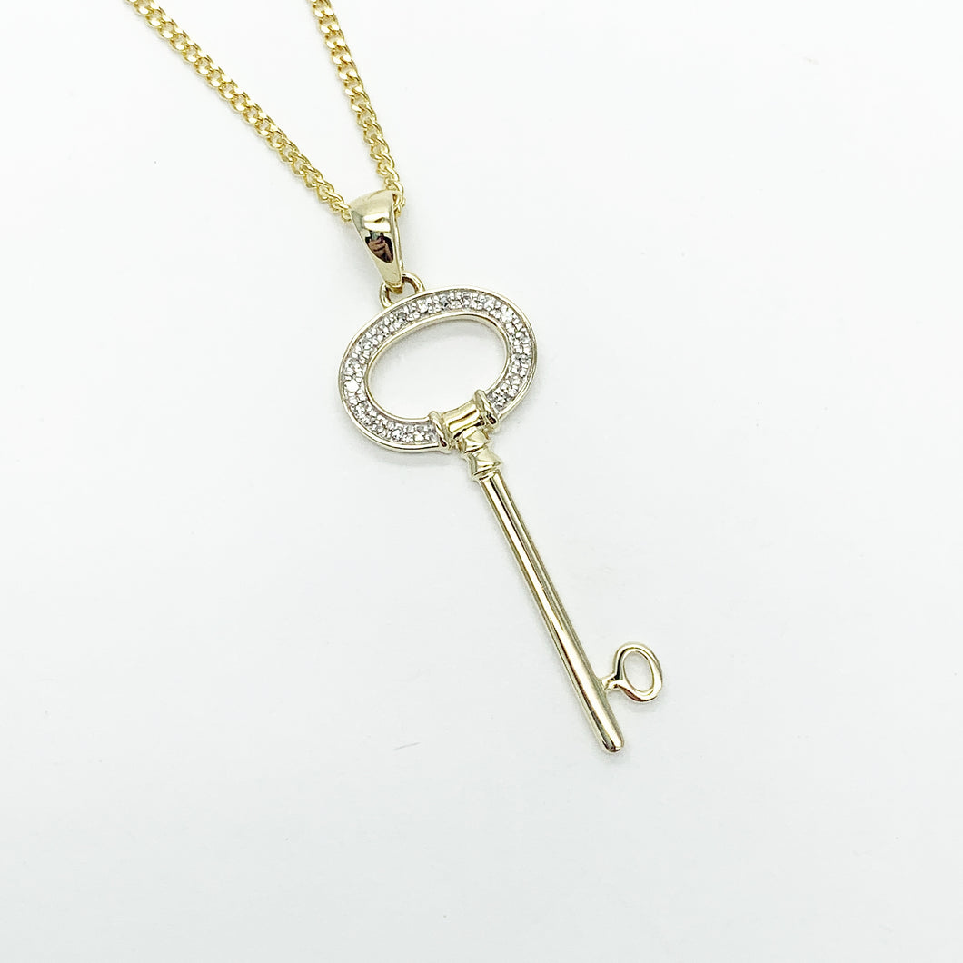 Yellow Gold Diamond Key Pendant