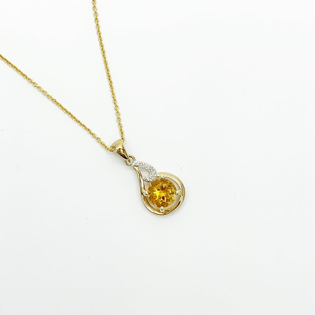 Yellow Gold Citrine & Diamond Pendant