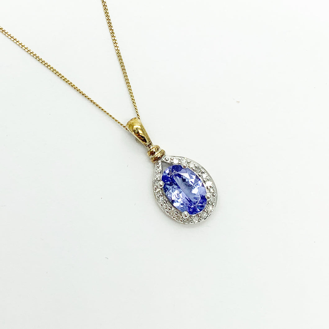 Yellow Gold Tanzanite & Diamond Pendant