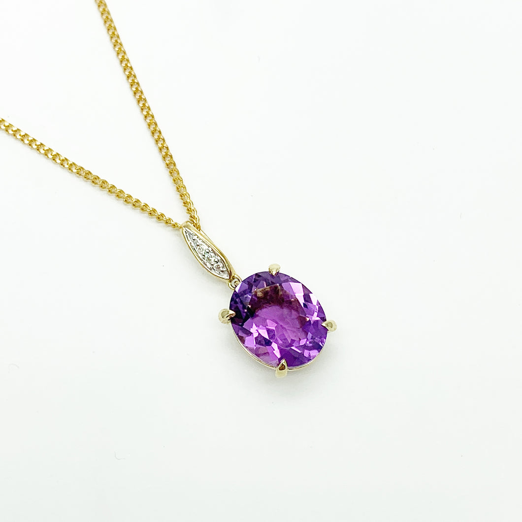 Yellow Gold Amethyst & Diamond Pendant