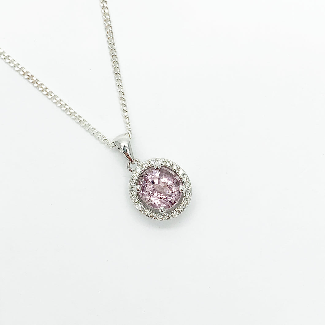 White Gold Spinel & Diamond Pendant