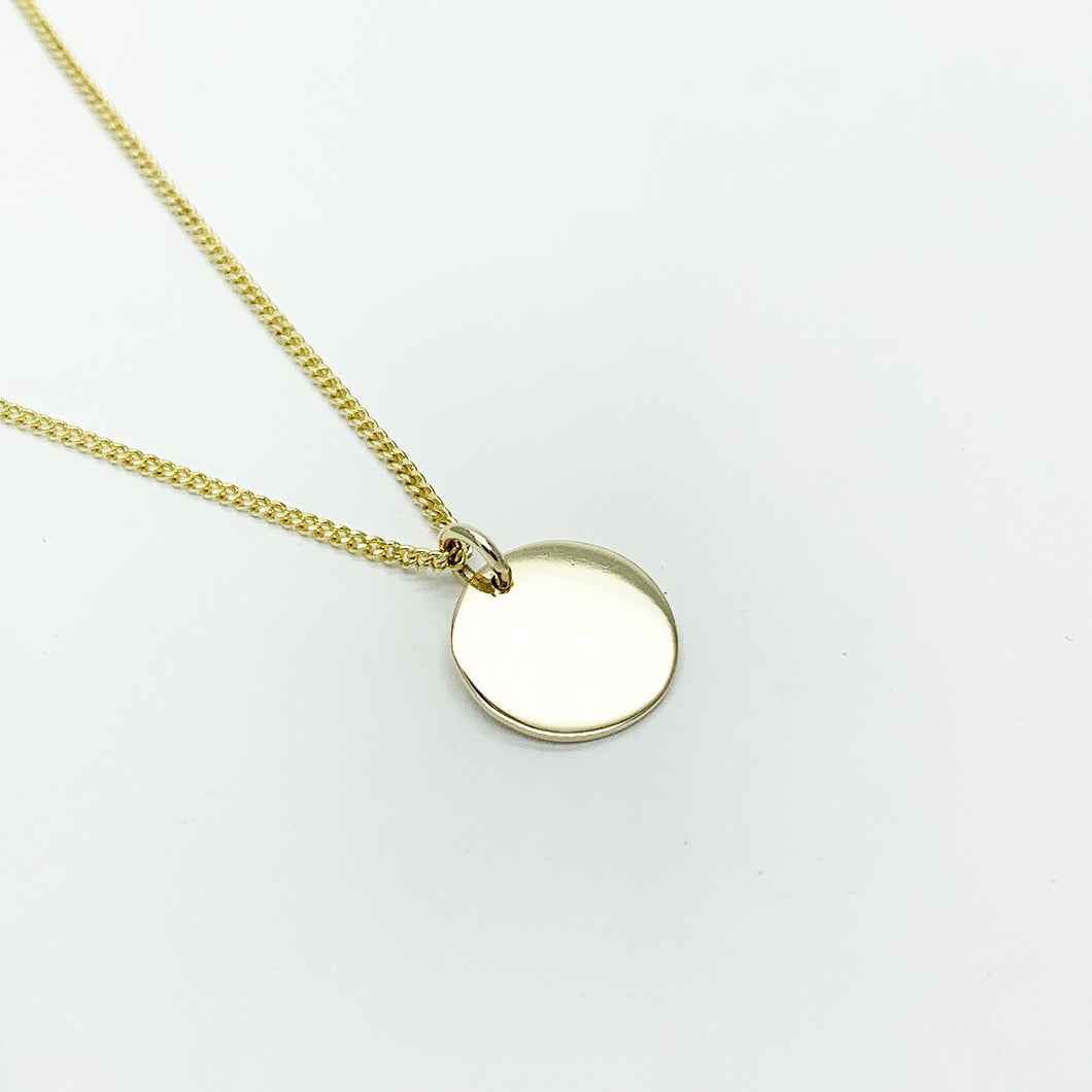 Yellow Gold Round Disc Pendant