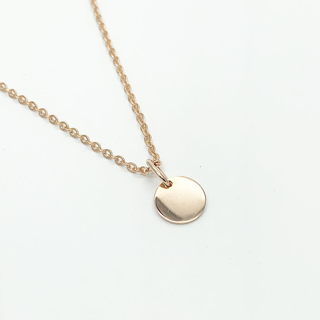 Rose Gold Round Disc Pendant