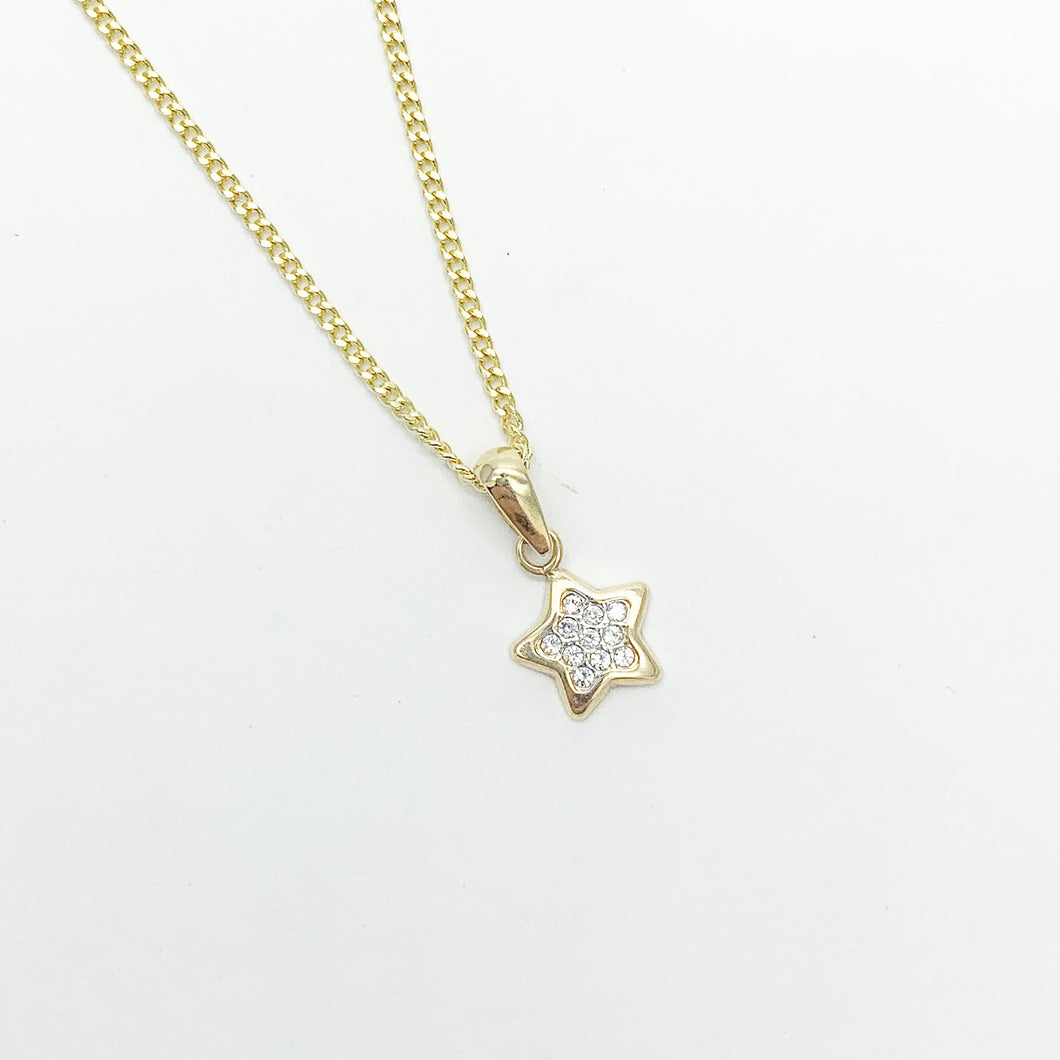 Yellow Gold CZ Star Pendant