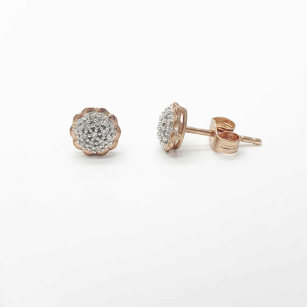 Rose Gold Diamond Stud Earrings