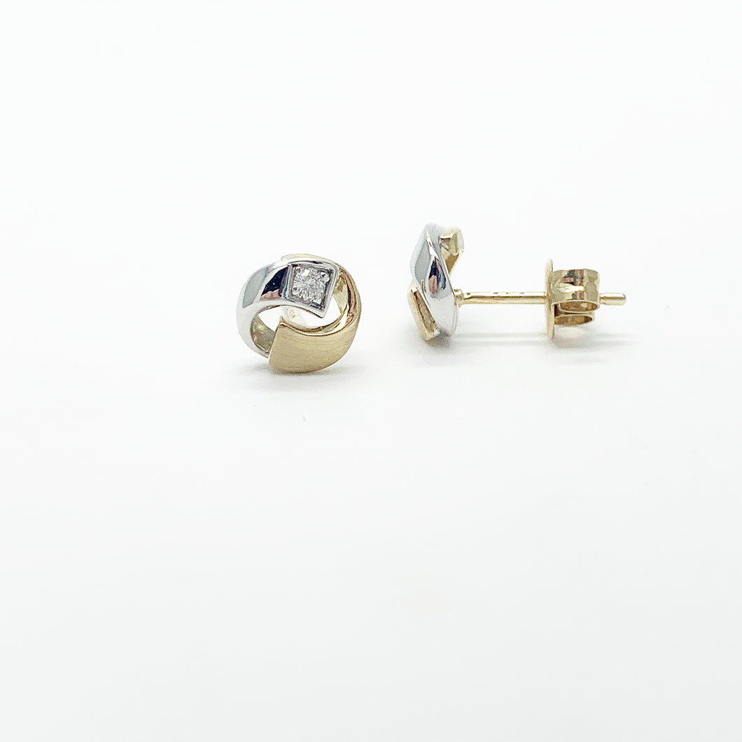 Yellow/White Gold Diamond Stud Earrings