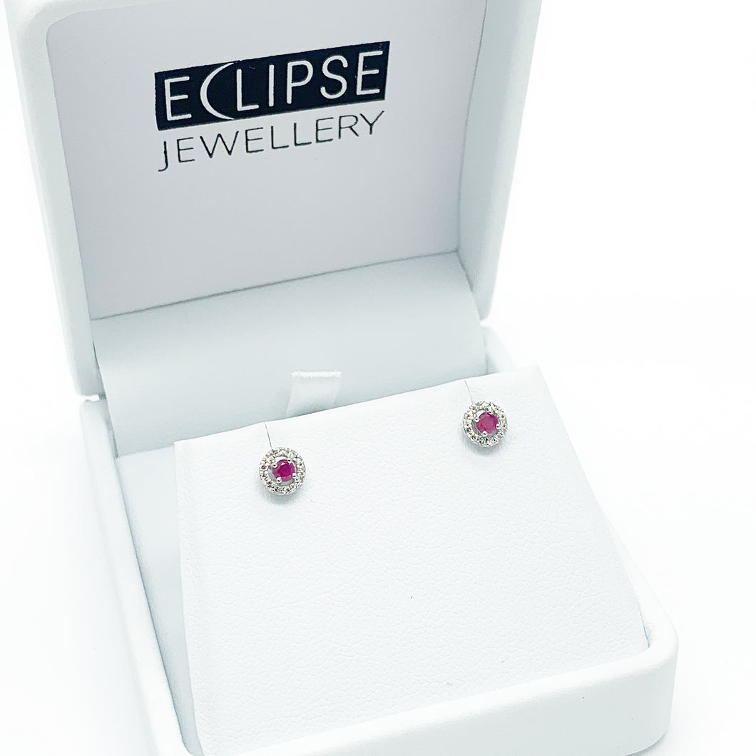 White Gold Ruby & Diamond Earrings