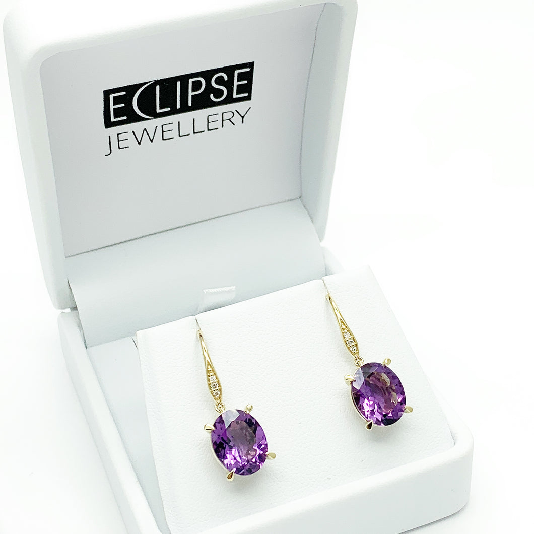 Yellow Gold Amethyst & Diamond Drop Earrings