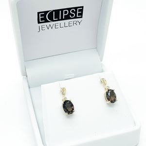 Yellow Gold Smokey Quartz & Diamond Earrings