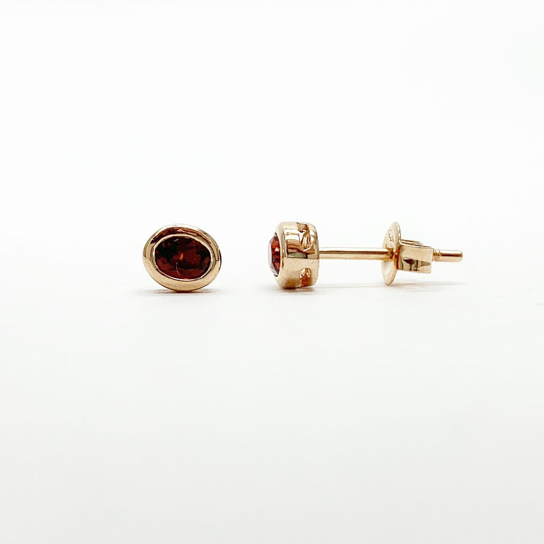 Rose Gold Garnet Stud Earrings