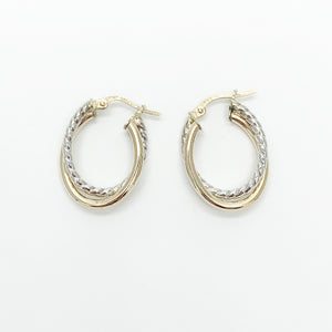 Yellow/ White Gold 12mm Hoop Earrings
