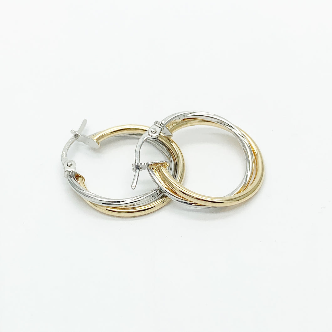 Yellow/White Gold 15mm Hoop Earrings