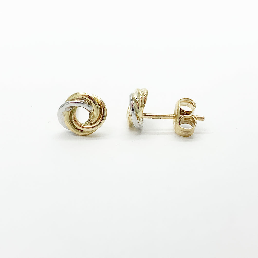 Yellow/White Gold Knot Stud Earrings