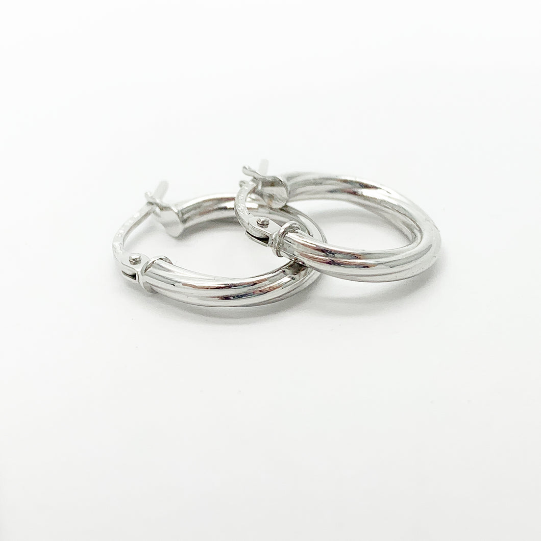 White Gold 10mm Hoop Earrings