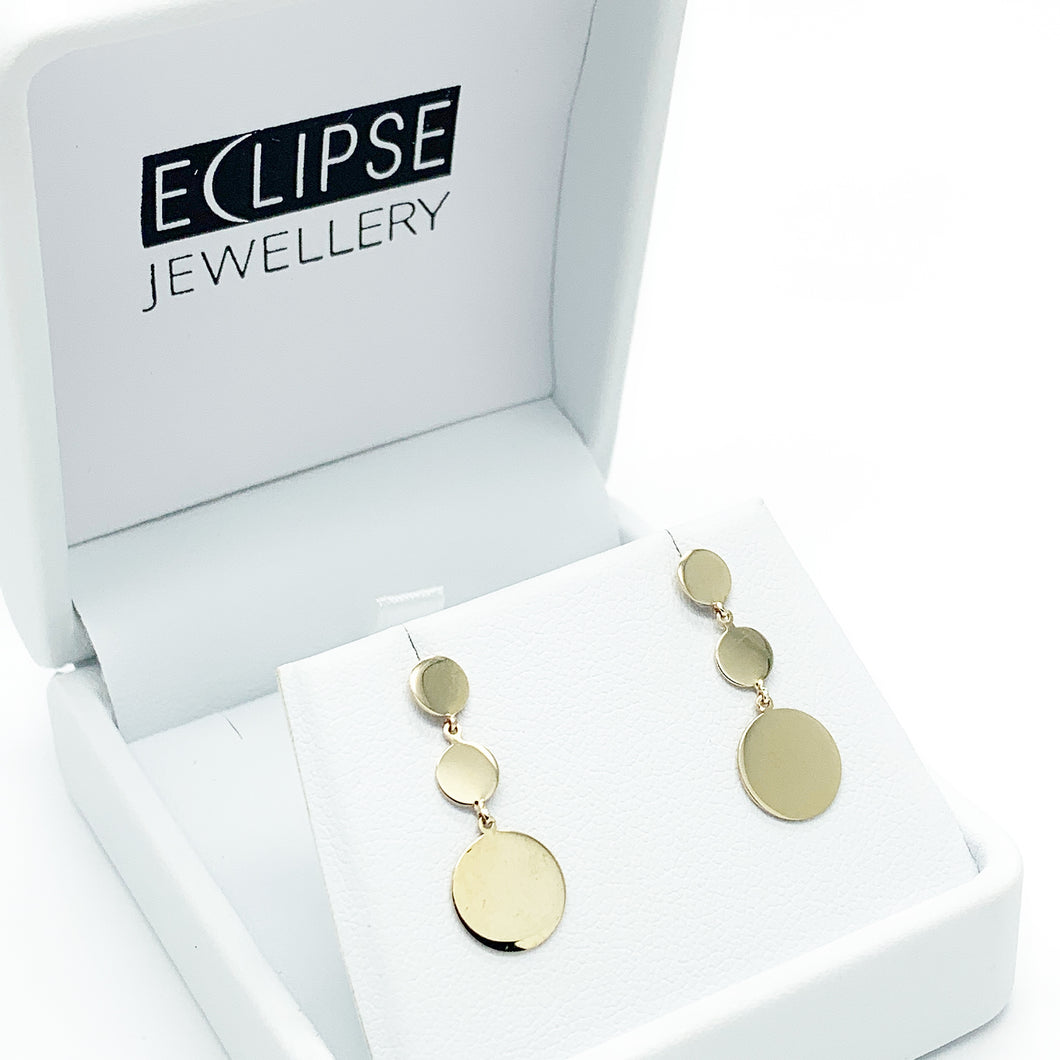 Yellow Gold Disc Drop Stud Earrings