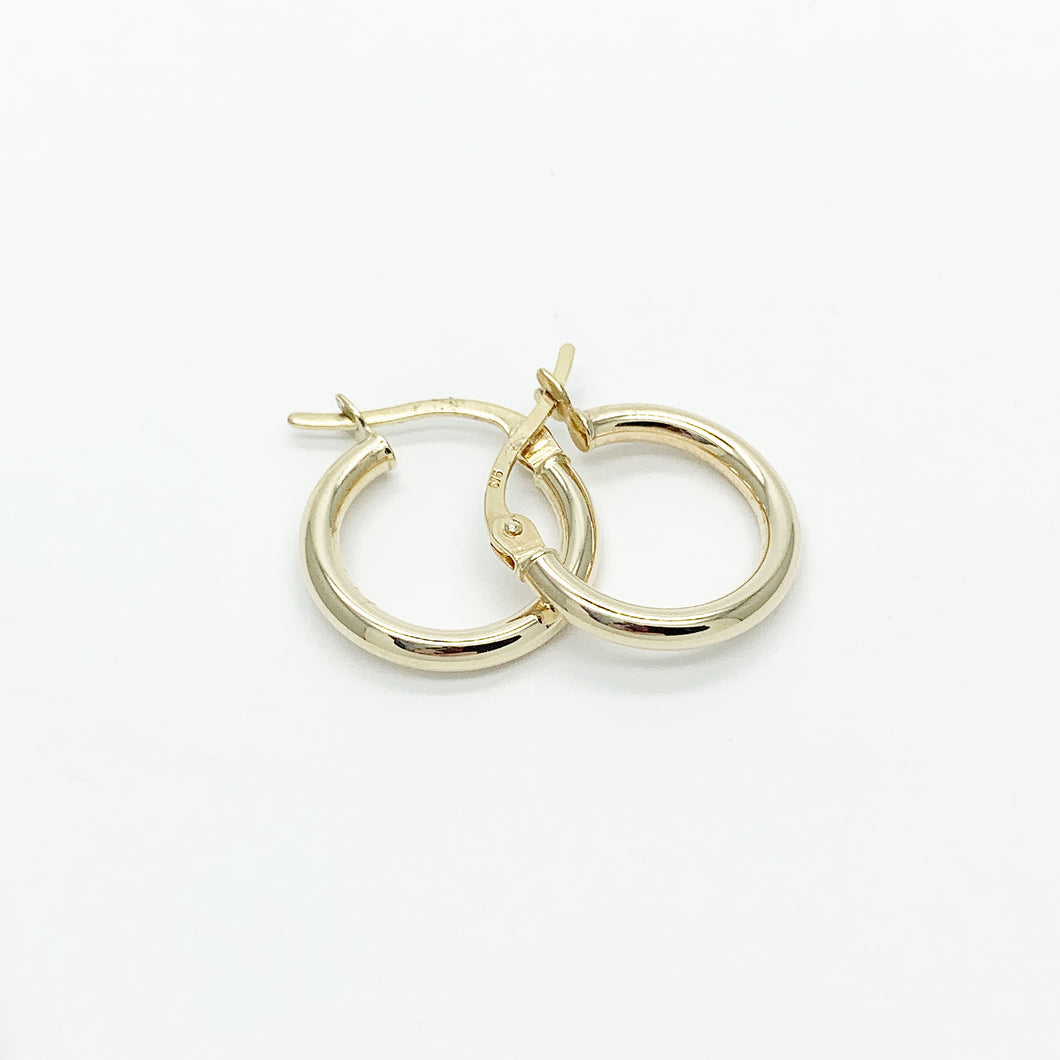 Yellow Gold 10mm Plain Hoop Earrings